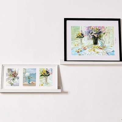 Andi Photo Ledge Picture Display Floating Shelf, White - Set of 2 - Wayfair