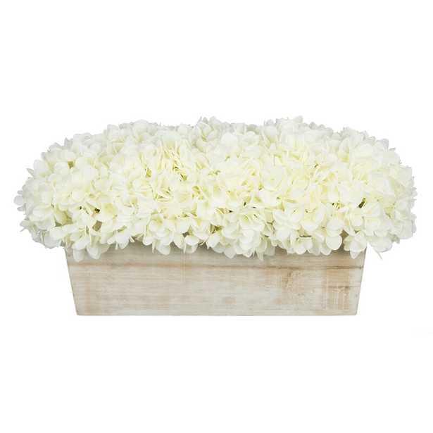 Hydrangeas Floral Arrangement in Planter - White - Wayfair