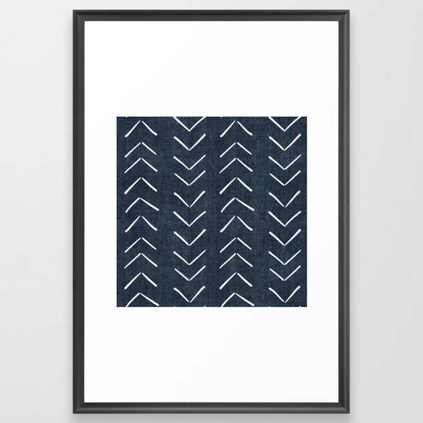 Mud Cloth Big Arrows in Navy Framed Art Print - Society6