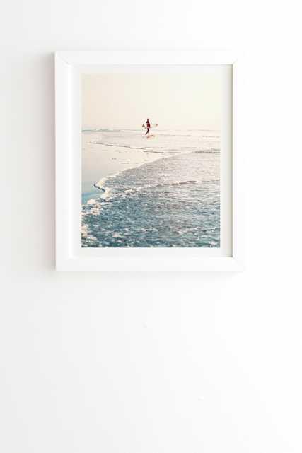 """Surfer Dude -19"""" x 22.4""""-Framed ( White ) - Wander Print Co."""