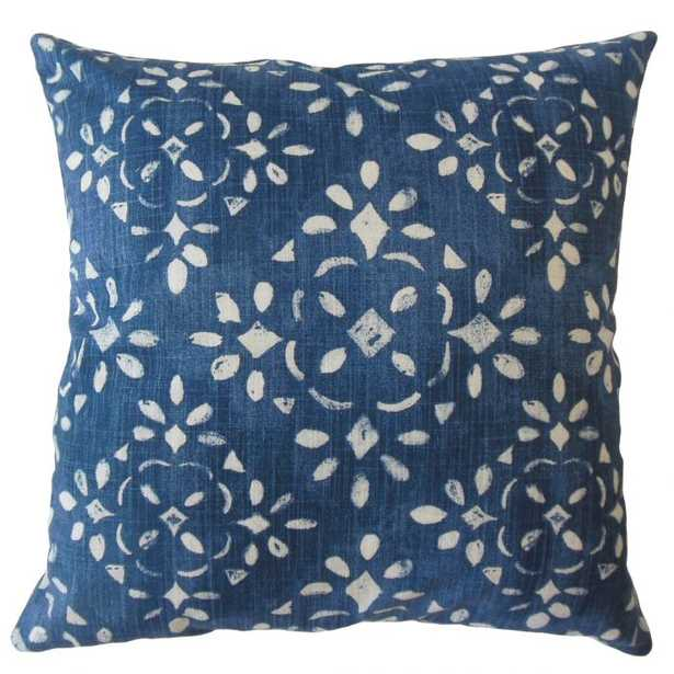 """Edyta Ikat Pillow Blue -18""""x18"""" with down insert - Linen & Seam"""