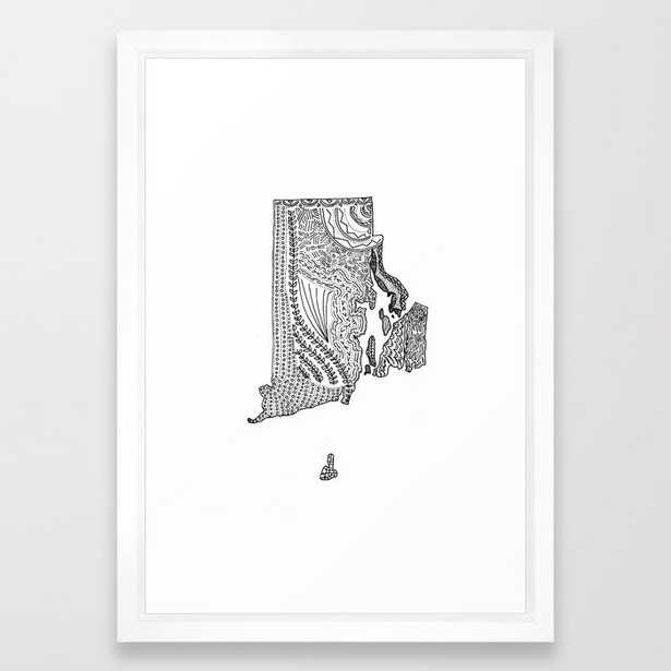 Rhode Island State Map Illustration Framed Art Print - Society6