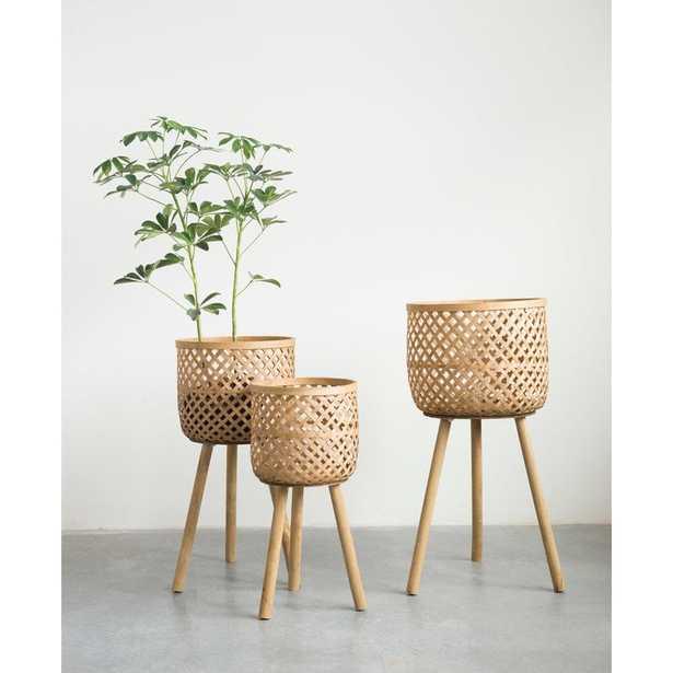 Round Bamboo Floor 3 Piece Wicker Basket Set - Wayfair