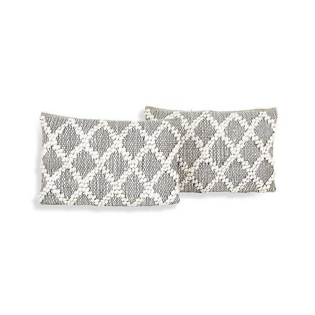 """Austine Grey and Cream Pillows 24""""x16"""", Set of 2 - Crate and Barrel"""