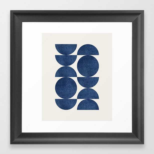 Blue navy retro scandinavian Mid century modern Framed Art Print - Society6