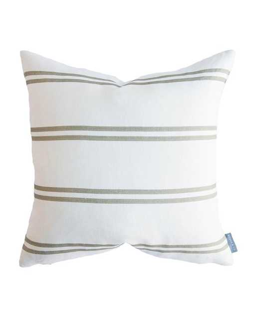 """FRANKLIN OLIVE STRIPE PILLOW WITHOUT INSERT, 22"""" x 22"""" - McGee & Co."""