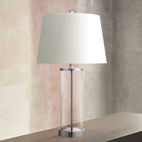 Glass and Steel Cylinder Fillable Table Lamp - Lamps Plus