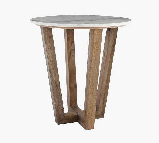 """Manali 22"""" Round Marble End Table, Vintage Gray Wash - Pottery Barn"""