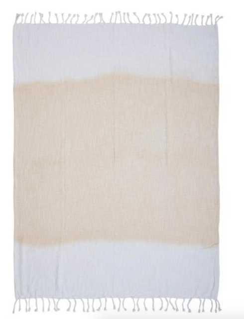 Shibori Ombre Slub 50 in. x 60 in. White/Peach Throw Blanket, Oranges/Peaches - Home Depot