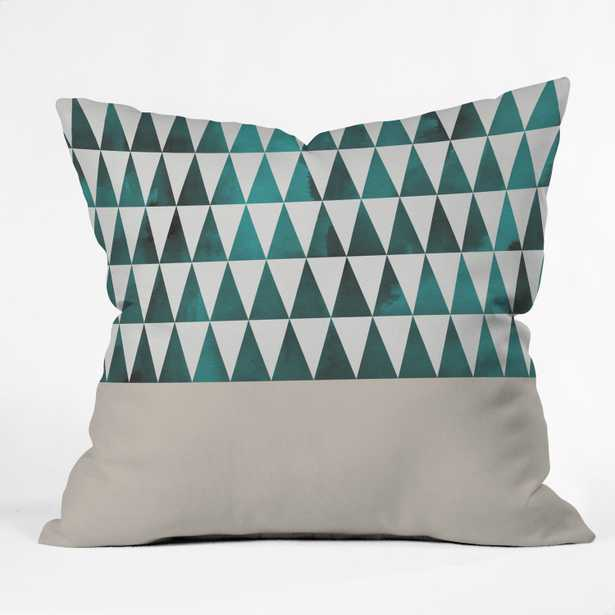 Teal Triangles Throw Pillow - Wander Print Co.