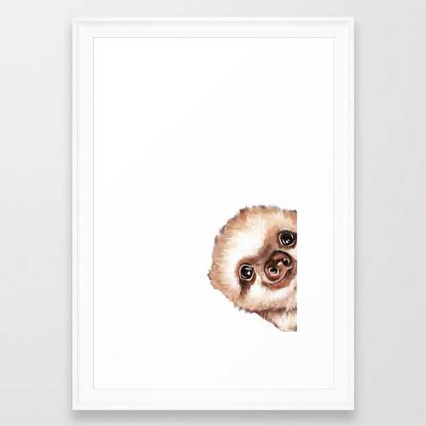 "Sneaky Baby Sloth Framed Art Print - 15"" x 21"" - scoop white frame - Society6"