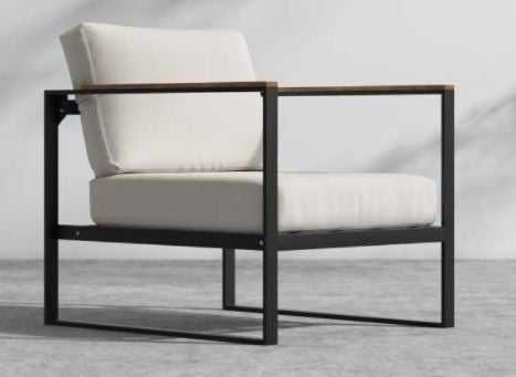 Louis Outdoor Armchair, Palisades Outdoor Fabric, Black- Louis Base - Rove Concepts