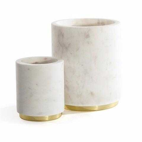 Mara Marble Utility Canisters in Various Colors design by Hawkins New York - Small - Burke Decor