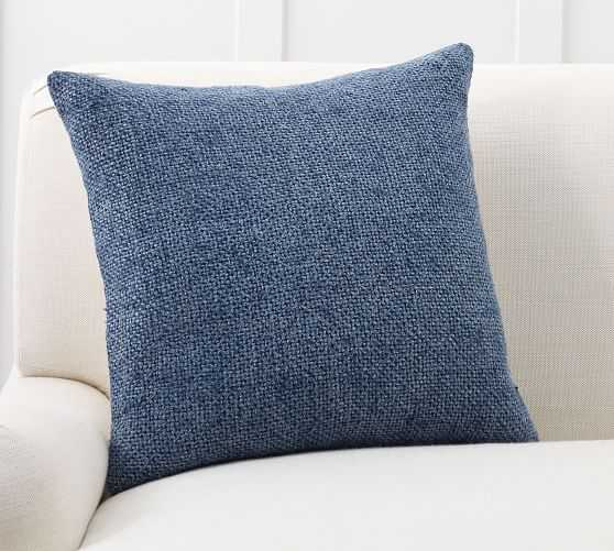 """Faye Textured Linen Pillow Cover, 20"""" x 20"""", Stormy Blue - Pottery Barn"""