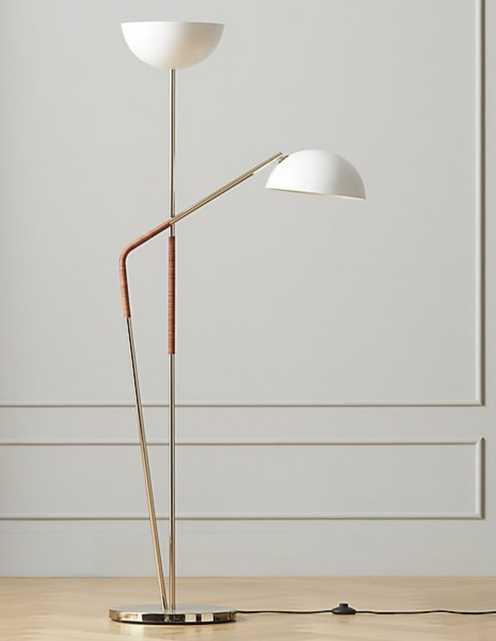 PAVO CHAMPAGNE BRASS DOUBLE FLOOR LAMP - CB2