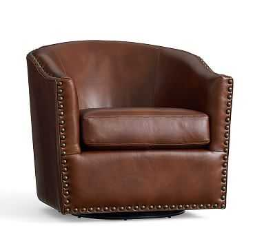 Harlow Leather Swivel Armchair with Bronze Nailheads, Polyester Wrapped Cushions, Statesville Molasses - Pottery Barn