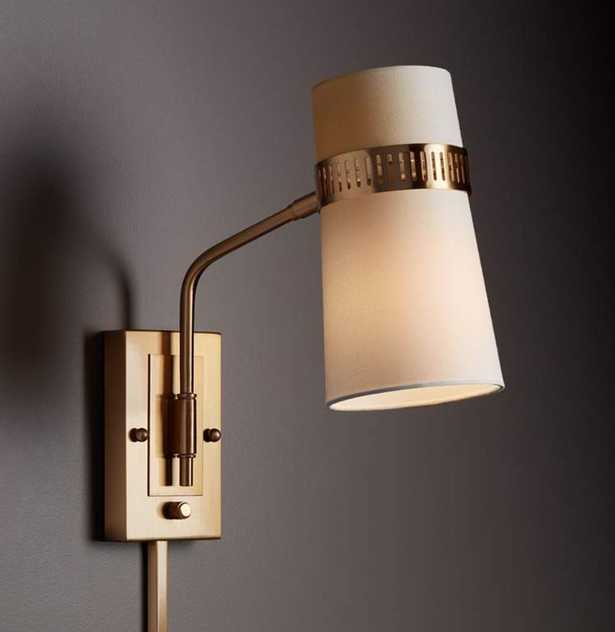 Cartwright Warm Antique Brass Plug-In Wall Lamp - Lamps Plus