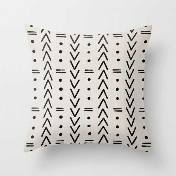 Mudcloth Black Geometric Shapes in White Throw Pillow by Eva Camacho Studio - Society6