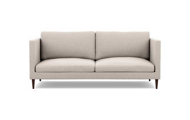 Oliver Sofa in Linen Pebble Weave fabric; Oiled Walnut Tapered Round Wood - Interior Define