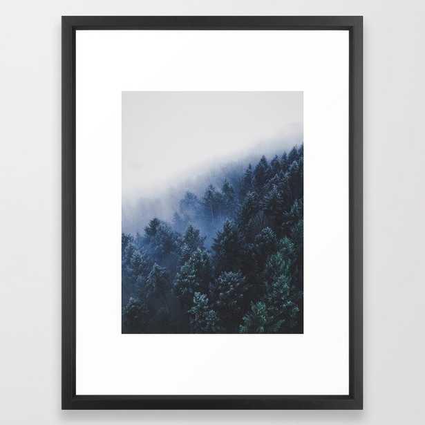 Foggy Blue Purple Mountain hill Pine Trees Landscape Nature Photography Minimalist Modern Art Framed Art Print - Society6