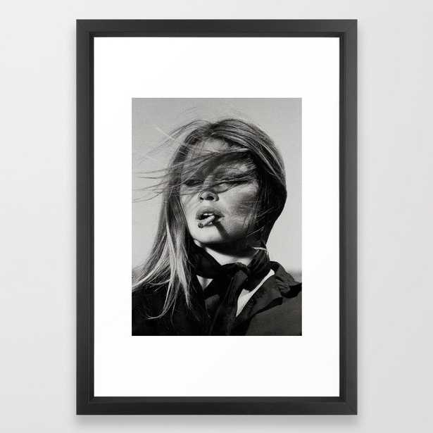 Brigitte Bardot Smoking a Cigarette, Black and White Photograph Framed Art Print - Society6