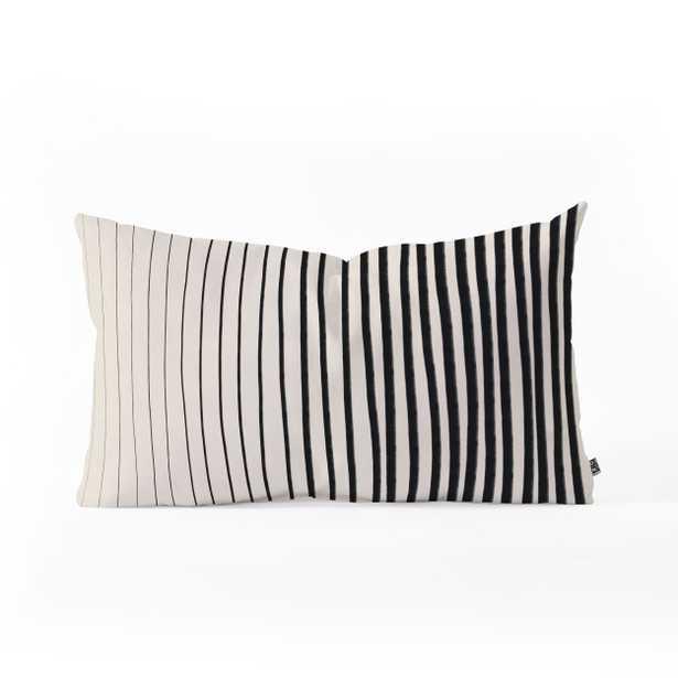 BLACK VERTICAL LINES  Oblong Throw Pillow - Wander Print Co.