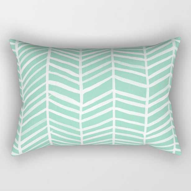 Herringbone – Mint & White Palette Rectangular Pillow - Society6