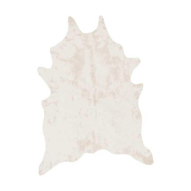 Cyrus Faux Cowhide Ivory Area Rug - Wayfair