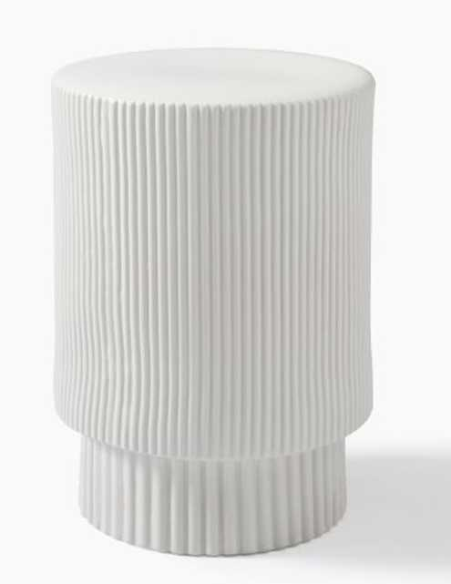 Fluted Collection Dove Side Table - West Elm