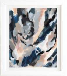 """PARCHMENT ABSTRACT THREE Basic White Framed Wall Art - 19x22.4"""" - Wander Print Co."""