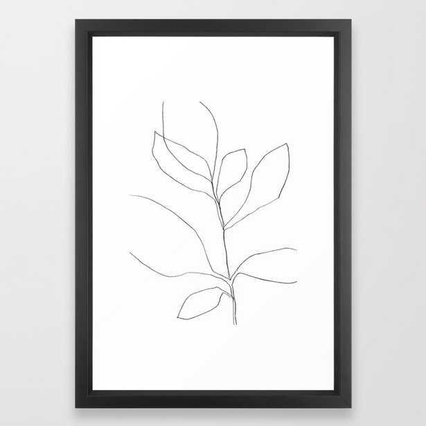 "Seven Leaf Plant - Minimalist Botanical Line Drawing Framed Art Print, 15"" x 21"" - Society6"