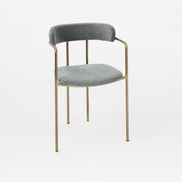 Lenox Dining Chair, Distressed Velvet, Mineral Gray, Blackened Brass - West Elm