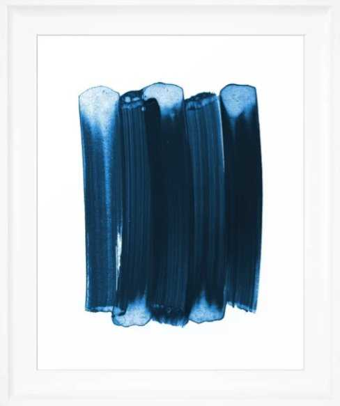 Indigo Blue Minimalist Abstract Brushstrokes Framed Art Print - vector white frame - Society6