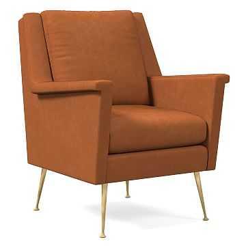 Carlo Mid-Century Chair, Poly, Vegan Leather, Saddle, Pecan - West Elm
