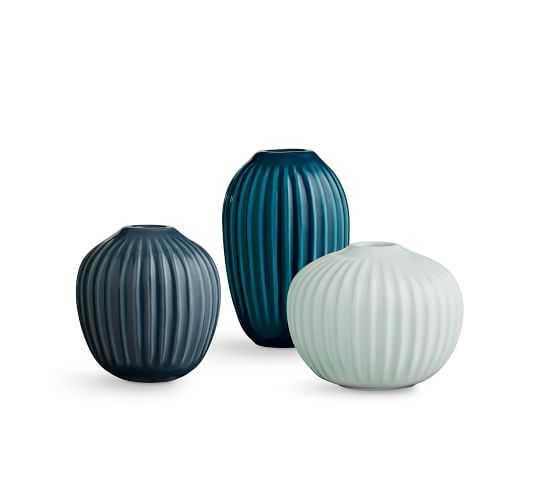 Kahler Hammershi Miniature Vases, Mixed Green, S/3 - Pottery Barn