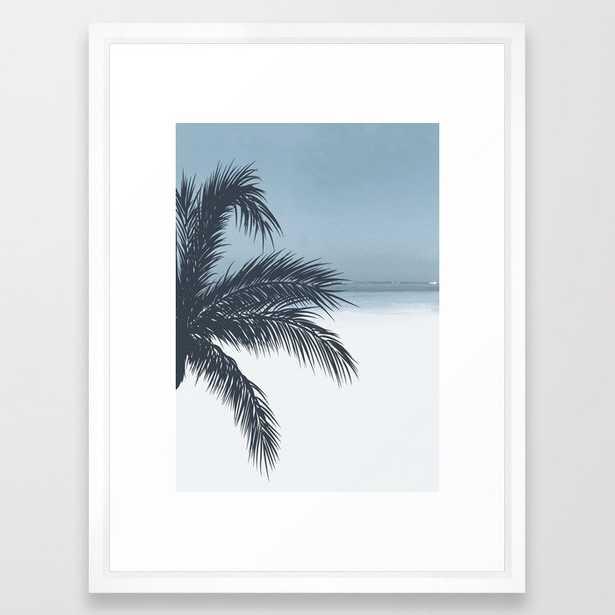 Palm and Ocean Framed Art Print (vector white frame) - Society6