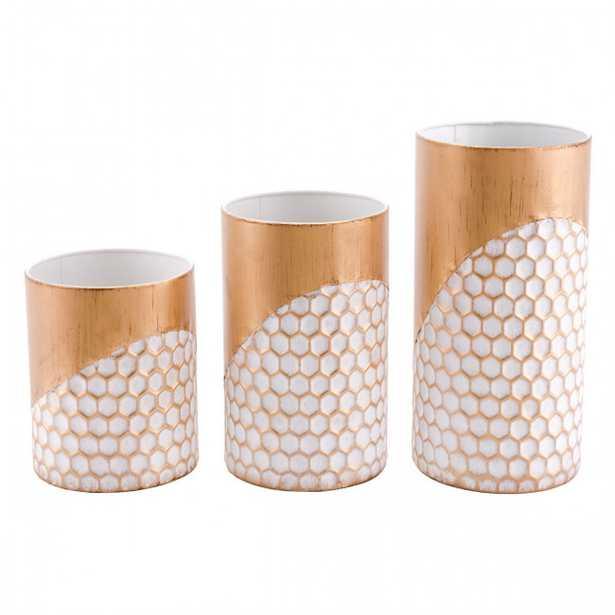 Honeycomb Set Of 3 Candle Holders Gold - Zuri Studios