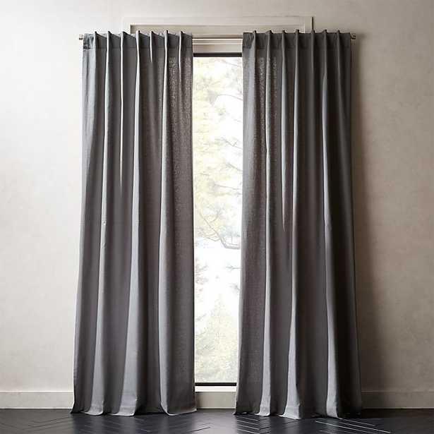 "Graphite Grey Basketweave II Curtain Panel 48""x84"" - CB2"