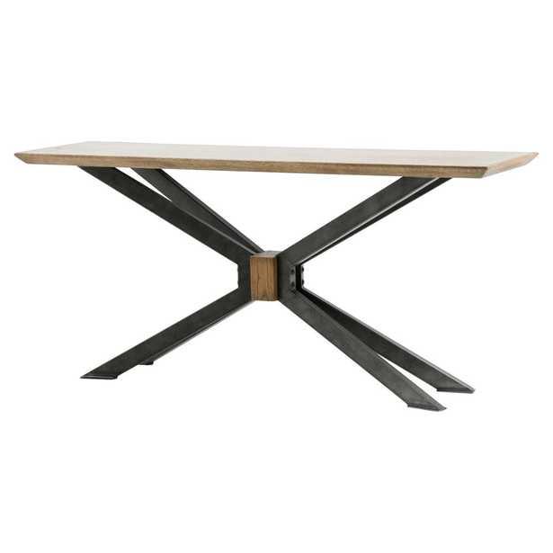 Bert Industrial Loft Rectangular Oak Top Black Cross Leg Console Table - Kathy Kuo Home