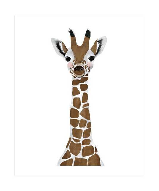 baby animal.giraffe Art Print (unframed 11x14, full bleed, mocha) - Minted