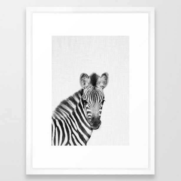 """Baby Zebra Framed Art, 20""""x26"""", Vector White Frame - Society6"""
