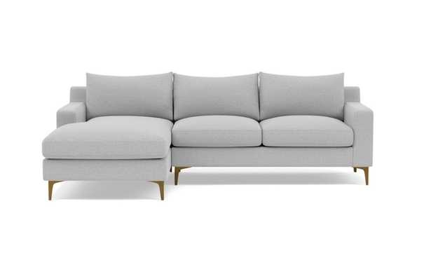 """SLOAN Sectional Sofa with Left Chaise, Ecru, Brass Plated Sloan Leg, 92"""" - Interior Define"""