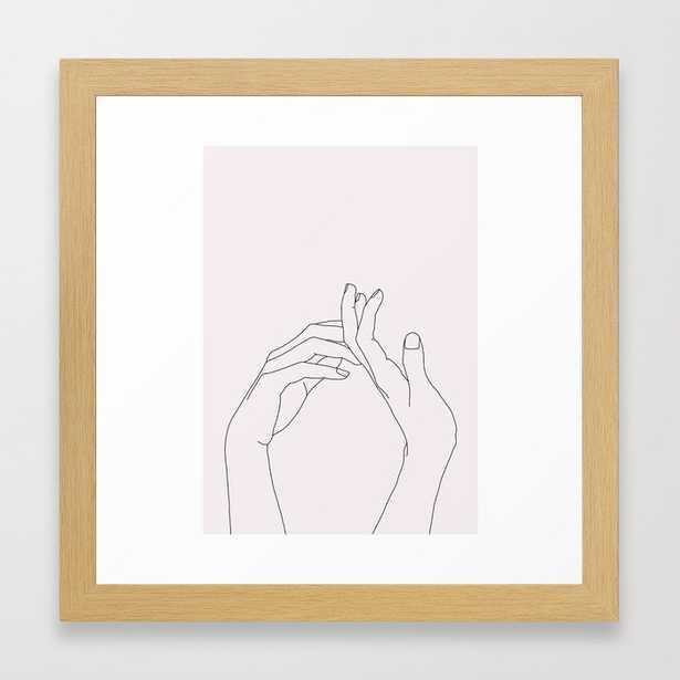 Hands line drawing illustration - Abi Natural Framed Art Print - Society6