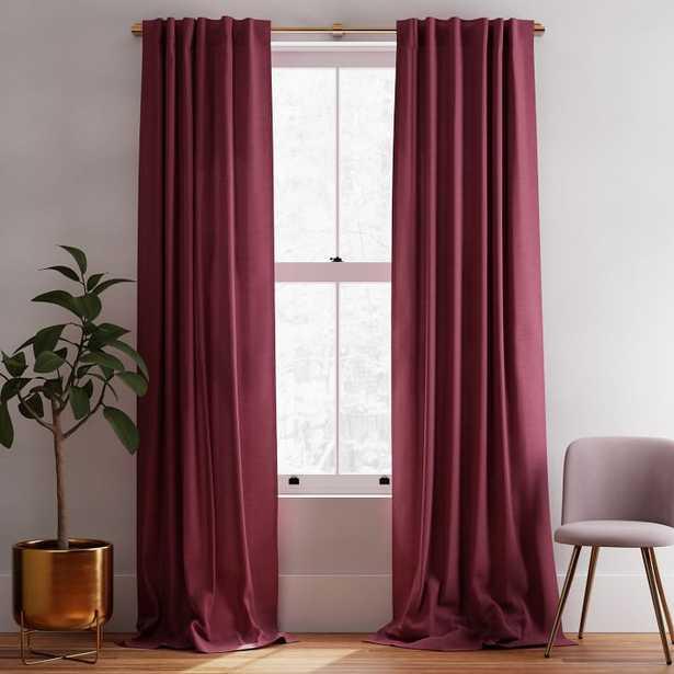 Solid Belgian Linen Curtain - Currant - West Elm