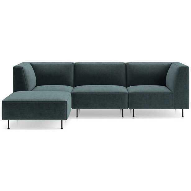 Strom 4-Piece Strom 4-Piece Reversible Sectional with Ottoman - Crate and Barrel