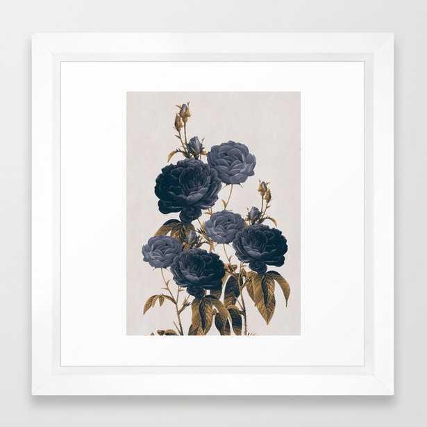 """blue flowers Framed Art Print - 12x12"""" - Vector White - Society6"""