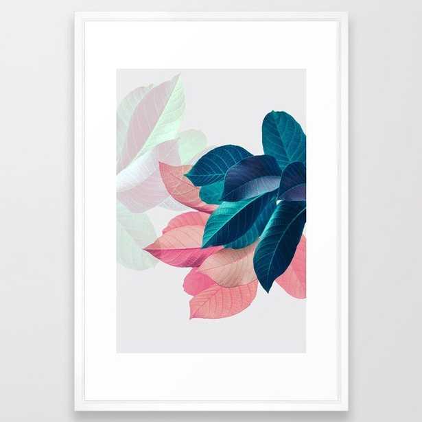 Pink and Blue Leaf Framed Art Print - Society6