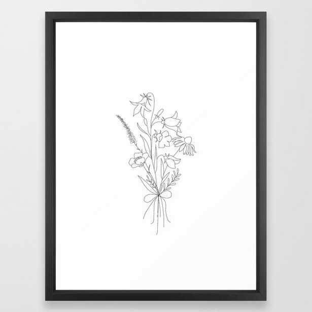 Small Wildflowers Minimalist Line Art Framed Art Print - Society6