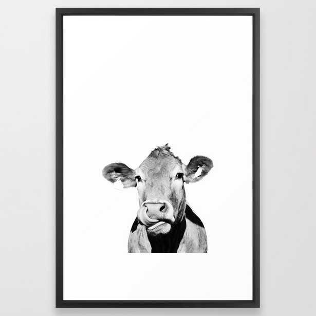 Cow photo - black and white Framed Art Print - Society6