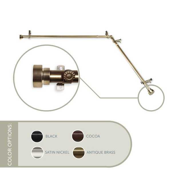 "48-84"" Antique Brass Lyndhurst Corner Window Single Curtain Rod & Hardware Set - Wayfair"
